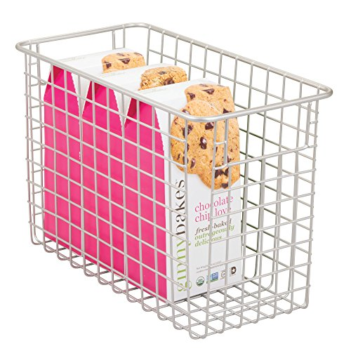 mDesign Wire Organizing Storage Basket with Built-In Handles - 12