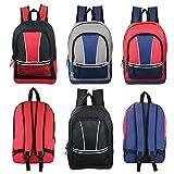 17'' Wholesale Kids Sport Backpacks in 4 Assorted Colors - Bulk Case of 24 Bookbags