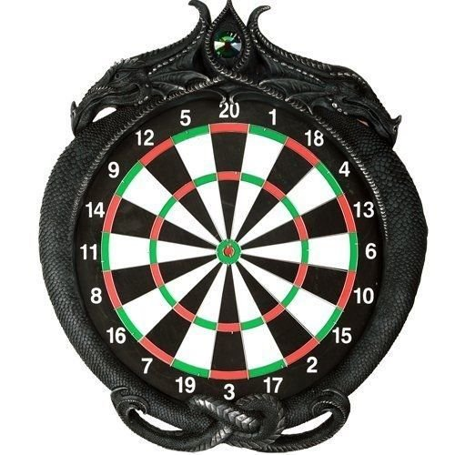 Dual Dragon Dart Board Wall Sculpture 20.5