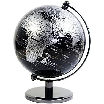 KiaoTime 5 inch Diameter Black SEA Vintage World Globe Antique Decorative Desktop Geographic Globe Rotating Earth Geography Globe Educational Globe Kids Gift (Black with Metal Base)