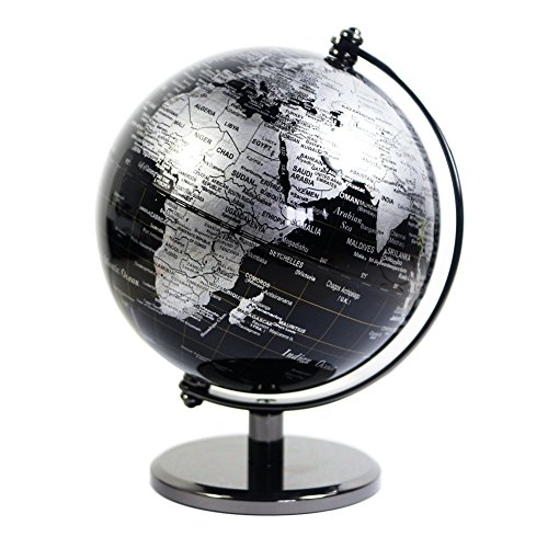 KiaoTime 5 inch Diameter Black SEA Vintage World Globe Antique Decorative Desktop Geographic Globe Rotating Earth Geography Globe Educational Globe Kids Gift (Black with Metal Base) (Mini For Sale Globes)