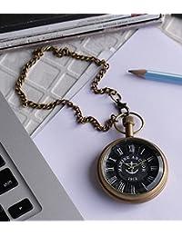 Unisex Antique Case Vintage Brass Rib Chain Quartz Pocket Watch For Men Women - 1.8 Inch