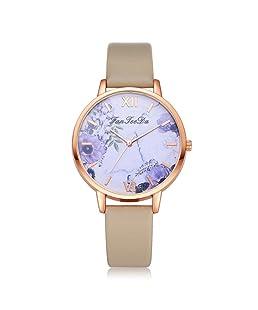 Mostsola Women's Luxury Leather Band Analog Quartz Wrist Watch (Beige)