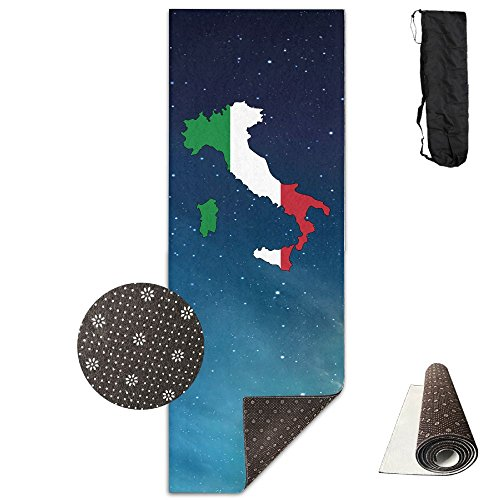 QNKUqz Italy Flag Map Deluxe Yoga Mat Aerobic Exercise Pilates by QNKUqz