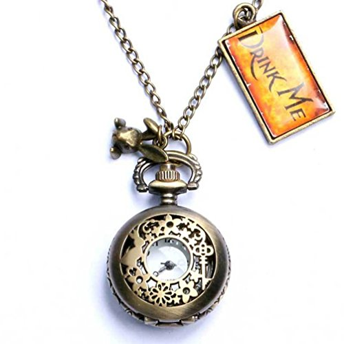 Onwon Vintage Drink Me Pocket Watch Necklace Quartz Watch Alice in Wonderland Rabbit -