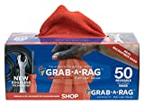 Grab a Rag R-004011 Red 12x12 Microfiber Shop Towel , 50 Pack