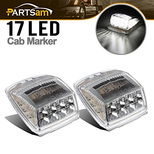 Partsam 2 x Cab Marker Roof Running White 17 LED Lights w/ Reflector for Heavy Duty Trucks Volvo Paccar Mack Peterbilt Kenworth Freightliner Western Star