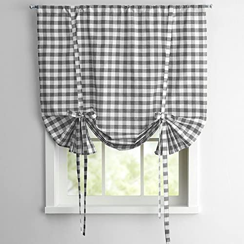 Sweet Home Collection Decorative Buffalo Check Design Kitchen Window Curtain Panel Treatment, 63 , Gray