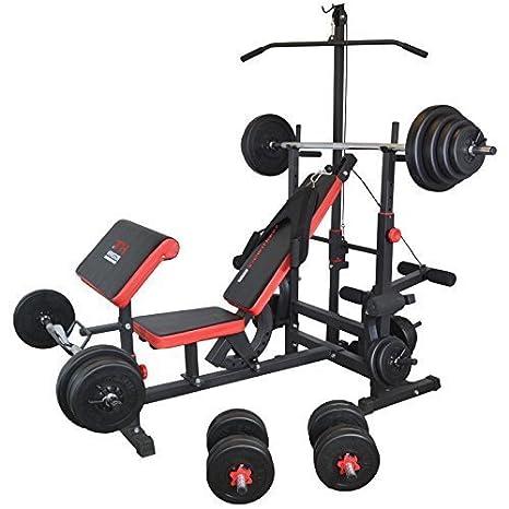 TrainHard - Banco de pesas Fuerza Station Fitness Center Latzug Negro/Rojo Con Largo de, Curl de y barras cortas y discos de 150 kg: Amazon.es: Deportes y ...