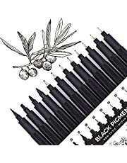 Set of 12 Micro-Pens, Fineliner Ink Pens, Black Drawing Pen, Pigment Pen, Waterproof,Great for Artist Illustration, Sketching, Technical Drawing 902195