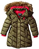 US Polo Association Big Girls' Bubble Jacket (More Styles Available), UA38-Military Green, 7/8