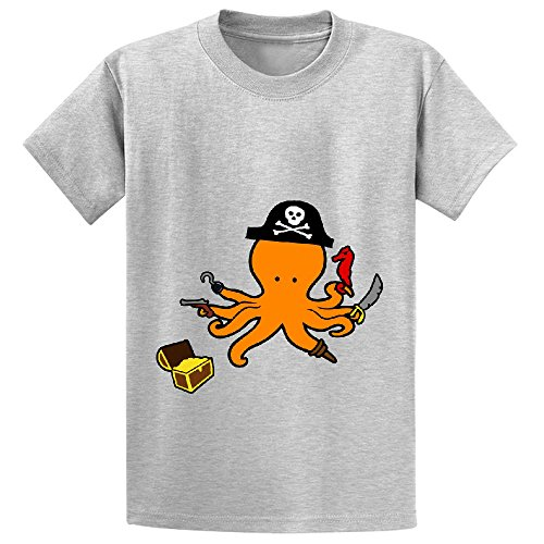 Octopus Pirate Cute Child Crew Neck Personalized Shirts Grey