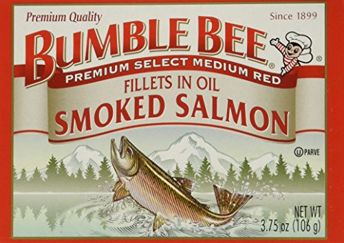 BUMBLE BEE Smoked Salmon Fillets In Oil, High Protein Food, Keto Food and Snacks, Gluten Free Food, High Protein Snacks, Canned Food, Bulk Canned Salmon, 3.75 Ounce Cans (Pack of 12) ()