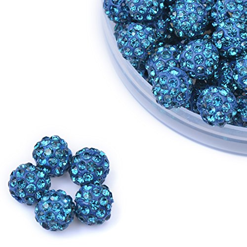 iCherry(TM) 10mm 100pcs/Lot Peacock Blue Clay BluePave Disco Ball for