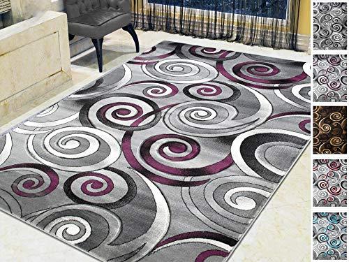 Handcraft Rugs-Spiral/Swirls Modern Contemporary Hand Carved Area Rug-Silver/Purple/Gray/Black ()