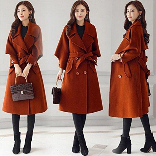 Manteau Épais Dans automne Manches Dame Sed Couleur Mode Unie La Caramel Trompette Longue De Femme Hiver Section Et Femmes dTAFw