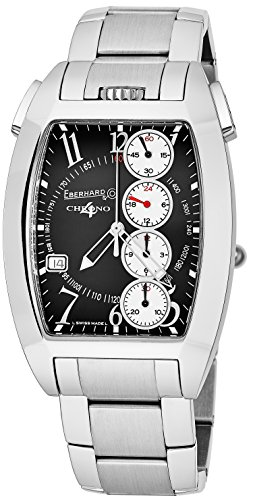 Eberhard & Co Chrono 4 Temerario Mens Stainless Steel Automatic Chronograph Watch - Tonneau Black Face Casual Swiss Watch For Men 31047.5]()