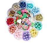 Beads Set for Jewelry Making Kids Adults Children Craft DIY Necklace Bracelets Colorful Q7S Glass Crafting Beads Kit Box with Accessories