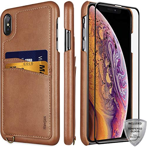 iPhone Xs Max Case,Reejax Slim Wallet Case with ID/Credit Card Holders and Glass Screen Protector,Luxury Brown PU Leather Case for Men Women Protective Cover Phone Case for iPhone Xs Max [6.5