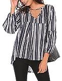 SE MIU Women's Long Sleeve Blouse V Neck Striped Shirt High Low Tops