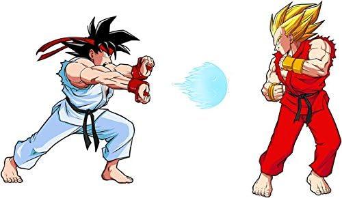 Parodie Dragon Ball Z /– Street Fighter Street Fighter parodico RYU e Ken Sauce Sangoku e Vegeta: Kamehamehadoken Cappellino da bambino bianco Dragon Ball Z Okiwoki .