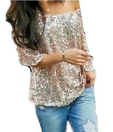 Damen Summer Trägerlos Batwing T-Shirts Beiläufige Street Style Pailletten Loose Bluse Tops Oberteile (EU42(XXL), Gold)