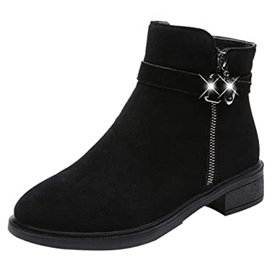 3514ee08ba1 ZYUEER Bottine Femmes Bout Rond Femmes Boucle Dames Chaud Bottes Bottines  Chaussures à Talons Hauts