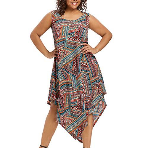 (Farmerl Plus Size Dress for Women O-Neck Sleeveless Colorful Asymmetrical Dress)