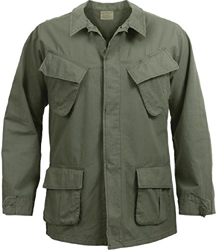 Olive Drab Vintage Vietnam Military 100% Cotton Rip-Stop Fatigue Shirt