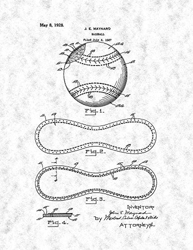 Baseball Patent Print Art Poster Gunmetal (8.5