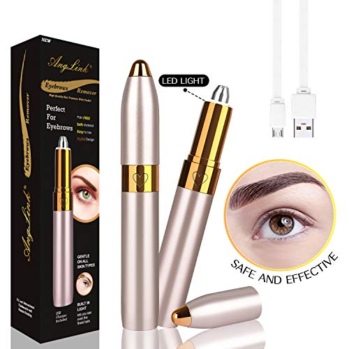 Anglink Eyebrow Hair Remover, 2019 USB Rechargeable Painless Portable Precision Electric Eyebrow Trimmer Removal Razor Tool for Women (Gold)