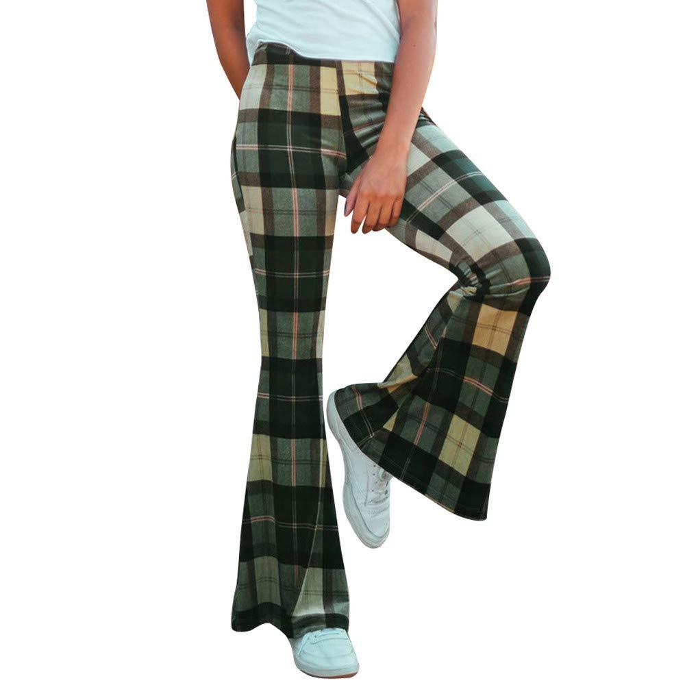 Fashion Women Ladies Plaid Printing Casual Long Wide Leg Trousers Flare Pants