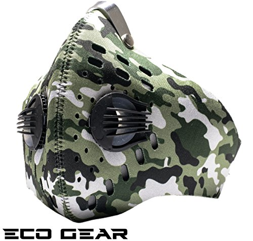 ECO-GEAR Anti Pollution Face Mask with Military Grade N95 Protection | Anti Smoke, Exhaust Gas, Dust, Pollen Allergens | Hiking, Running, Walking, Cycling, Ski and Other Outdoor Activities (Army)