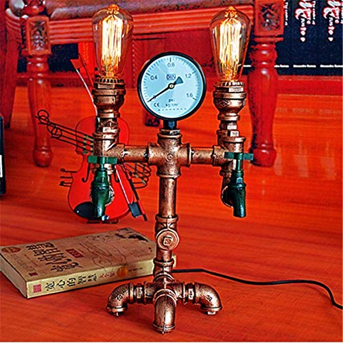 YUHAO Desk Lamp Study Office Industrial Retro Steampunk Living Room Bedroom Dimmable Bedside Lamp Double Head E27 DIY Rustic Copper Wrought Iron Water Pipe Table Lamp with Faucet and Pressure Gauge -