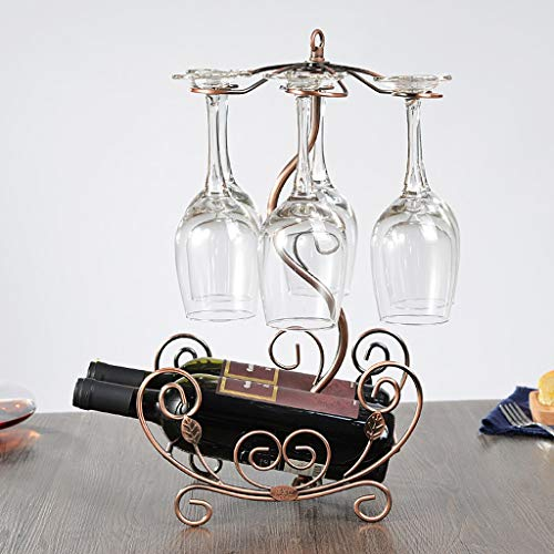 Home Storage Wine Racks Holders& Cabinets European Retro Iron Craft Wine Rack, Grape red Wine Hanging Flower Boat Wine Rack Wine Racks (Color : Brown)