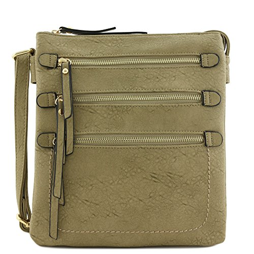 Large Double Compartment Triple Front Pocket Zippers Crossbody Bag (Stone)
