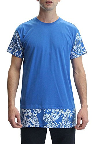 Victorious Paisley Print Extended Length T-Shirt TL936 - ROYAL BLUE - X-Large - A5C - A7C