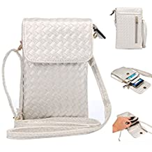 "Universal Cell Phone Cross-body Purse,Woven Design Shoulder Bag Soft PU Leather Carrying Cases for Apple iPhone 6s/6 Plus iPhone 6/6s,Samsung Galaxy S6 and Note Series and Phones Under 5.5""-Silver"