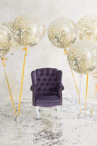Russ Valley LLC Jumbo Confetti Balloons 36 Gold Party Favors for Birthday, Graduation, Wedding, Anniversary, Baby Shower | Child and Adult Decorations (3 Pack)