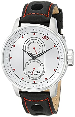 Invicta Men's 16019SYB S1 Rally Stainless Steel Watch with Black Leather Strap (Invicta Watch Black Leather)