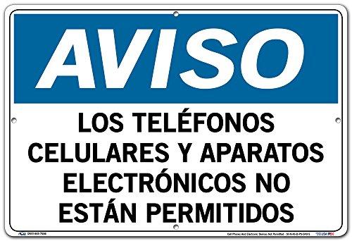 Vestil Spanish Notice Sign SI-N-46, Cell Phones and Electronic Devices Not Permitted, Los TELÉFONOS CELULARES Y APARATOS ELECTRÓNICOS NO ESTÁN PERMITIDOS by Vestil