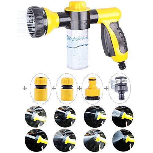 Vievogue Adjustable High Pressure Foam Spray Gun, Hose Nozzle Sprayer, Car Washing Gun, 8 Watering Patterns for Cars Washing, Pets Showering, Garden Plants Watering, Window Washing with 4pcs (Car Foam Tire)