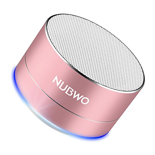 NUBWO Bluetooth Speaker, Mini Portable Outdoor/Sport/Car Aluminium Alloy Speakers - with Built-in Mic, AUX Line, TF Card, Enhanced Bass for iPhone iPad Android Phone and more (Rose Gold) (Mp3 Player Pink Speaker)