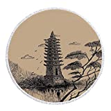 iPrint Thick Round Beach Towel Blanket,Asian Decor,Old Stone Tiered Tower Vintage Style Taoist House of Faith Historical Illustration,Pale Brown Black,Multi-Purpose Beach Throw
