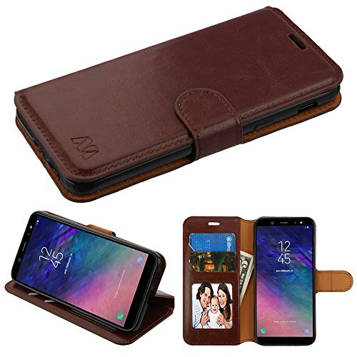 Case+Stylus, PU Leather Purse/Clutch Fits Samsung Galaxy A6 (2018) Brown Book-Style Wallet with Flap (Samsung Faceplates Brown)