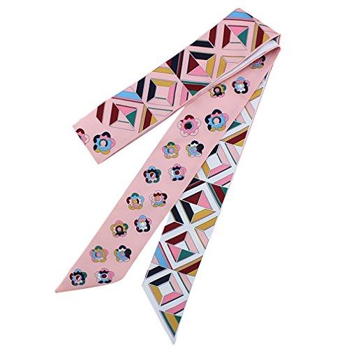 DOCILA Narrow Scarf - Girls Flower Geometric Print Silk hairband Scarf (Pink)