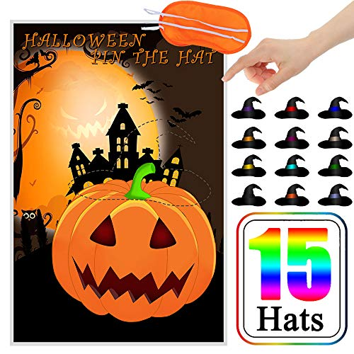 CQI Pin The Witches Hat On The Pumpkin Halloween Games - Pumpkin Witches Hat Halloween Decorations Party Game for Kids - 12 Hats