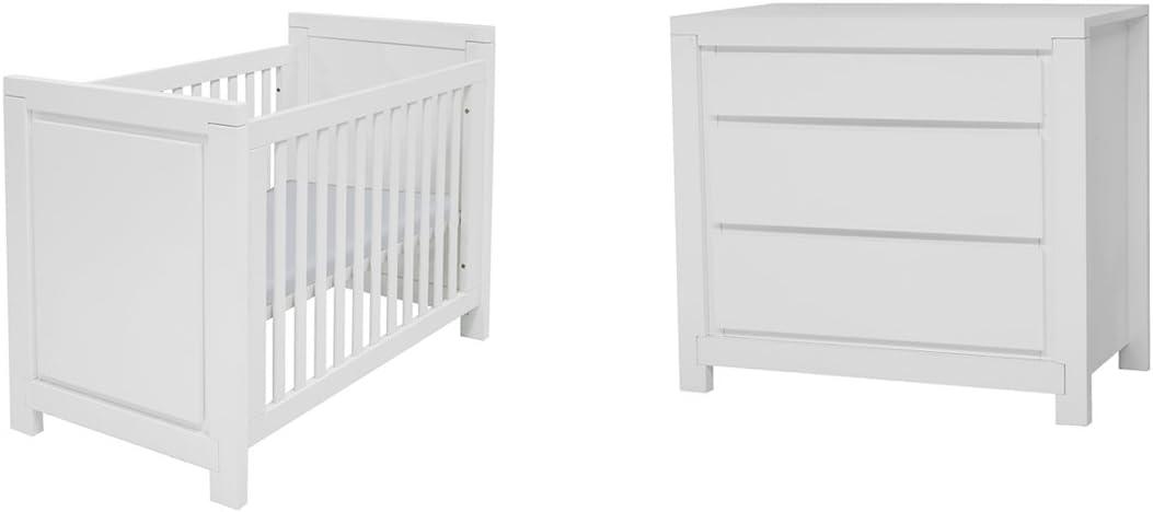 Cuna 60 x 120 y cómoda cambiador TWF Malibu – blanco: Amazon.es: Bebé