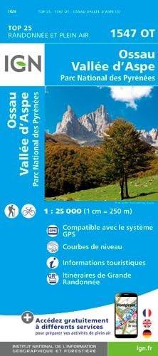 IGN Ossau/Vallée D'Aspe/Parc National des Pyrénées - Carte topographique