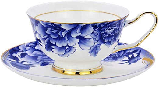 Set Of 4 White Blue Porcelain Floral Tea Coffee Cups /& Saucers 7oz 200ml